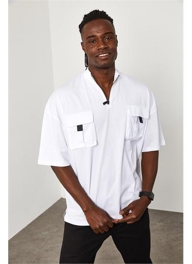 XHAN Fermuar Cep Detaylı Oversize T-Shirt 1YXE1-45085-01 Beyaz